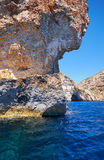 Inside Blue Grotto  on south part of Malta island Royalty Free Stock Photos