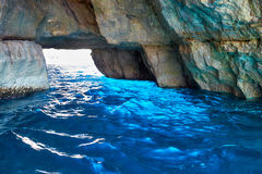 Inside Blue Grotto  on south part of Malta island Stock Photos