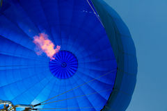 Inside of a blue hot- air balloon Stock Images
