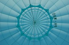 Inside blue hot air balloon Royalty Free Stock Photography