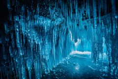 Inside the blue ice cave at Lake Baikal, Siberia, Eastern Russia.  stock photography