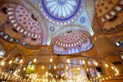 Inside Blue Mosque. Interior of the Blue Mosque (Sultanahmet Camii) in Istanbul, Turkey Stock Photo