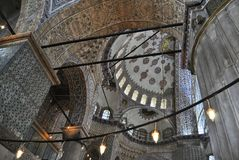 Inside the Blue mosque, Istanbul. Interior of the Blue mosque, Istanbul, Turkey Stock Images