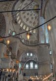 Inside the Blue mosque, Istanbul. Interior of the Blue mosque, Istanbul, Turkey Royalty Free Stock Photo