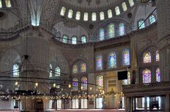 Inside the Blue mosque, Istanbul. Interior of the Blue mosque, Istanbul, Turkey Royalty Free Stock Images