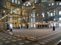 Inside The Blue Mosque of Istanbul. Inside The Blue Mosque, the  most popular mosque of Istanbul - Turkey Royalty Free Stock Photos