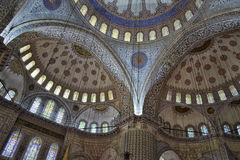 Inside the blue mosque in Istanbul. Detail of blue mosque in Istanbul, where we see the masterpiece Royalty Free Stock Images