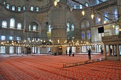 Inside the Blue Mosque, Istanbul Royalty Free Stock Image