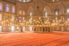 Inside the Blue Mosque in istanbul Turkey Stock Images