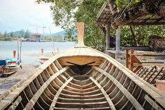 Inside boat structure made from wood Royalty Free Stock Image