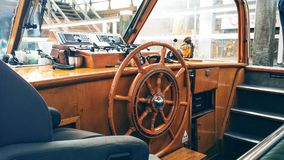 Inside a boat. With wooden interior Stock Photo