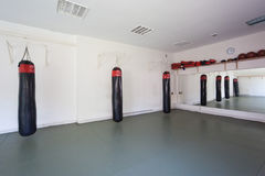 Inside boxing gym Royalty Free Stock Image