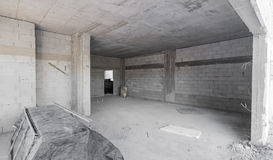 Inside a brick and concrete house under construction Stock Images