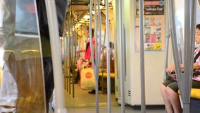 Inside of  BTS sky train at Bangkok Thailand stock footage
