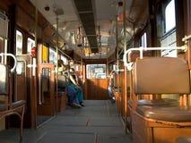 Inside budpest tram. On the tram in budapest stock photography