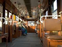 Inside budpest tram stock photography
