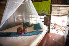 Inside of Bungalow or traditional Thai wooden house. Thailand Royalty Free Stock Photography