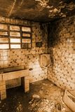 Inside a burning house. Detail of ruin and abandonment royalty free stock photo