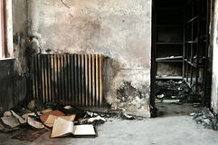 Inside of a burnt building after the fire Stock Photography