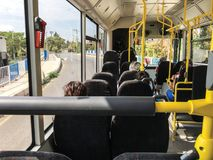 Inside bus background. Sunny day stock photos