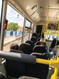 Inside bus background. Suuny day stock image