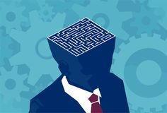 Inside businessman brain maze. Vector of an open head with labyrinth. Stock Image