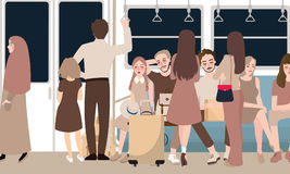 Inside busy train full of passenger commuter standing and sitting people. Using public transportation in rush hour male and female vector cartoon illustration Royalty Free Stock Photography