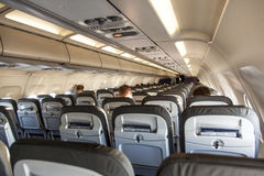 Inside the cabin of an aircraft Royalty Free Stock Photo