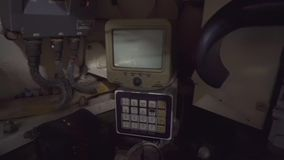 Inside cabin of a tank. Inside cabin of a Russian military tank stock footage