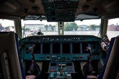 Inside cabine samolot obraz stock
