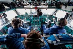 Inside cabine stary Radziecki ładunku samolot IL-76 Obraz Stock