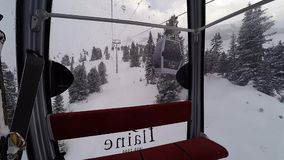 Inside a cable car at the resort of Flaine in the French Alps stock video footage