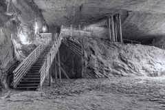 Inside Cacica salt mine, Romania in black and white Stock Photography