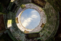 Inside Caerlaverock Castle, Scotland. View from inside of one of the towers of Caerlaverock Castle, Scotland Royalty Free Stock Photography