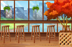 Inside of cafe with bar and stools. Illustration Stock Photography