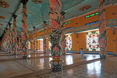 Inside in Cao Dai Temple. Stock Photo
