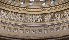 The Inside of the Capitol Building telling the story all around. Half way up the dome is a story of America Royalty Free Stock Images