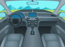 Inside Car or Auto Interior. Vector Stock Photo