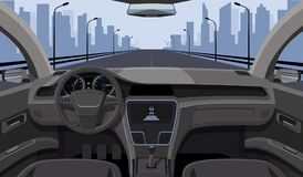 Inside car driver view with rudder, dashboard front panel and highway in windshield cartoon highway vector illustration. Interior of automobile, drive speed royalty free illustration