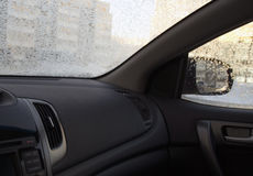 Inside the car in frosty wintertime Royalty Free Stock Photo