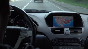 Inside a Car. A GPS Module is On. Close-up shot stock video footage