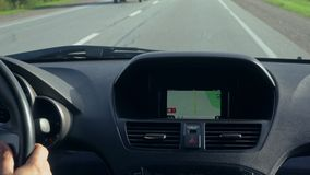 Inside a Car. A GPS Module is On. Close-up shot stock footage