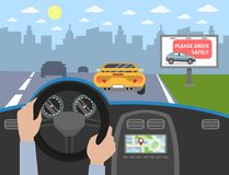 Inside the car. Driver`s hands on wheel. Sign on the road vector illustration