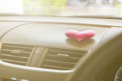 Inside car with Pink heart and filter light Stock Photo