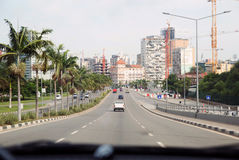 Inside Car Street View - Luanda Main Avenue, Angola Royalty Free Stock Photo