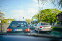 Inside car traffic jam on day time Stock Photos