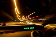 Inside car trails. Light trails from inside of a car Stock Photo