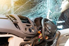 In the car, the steering wheel bent from the accident. Royalty Free Stock Images