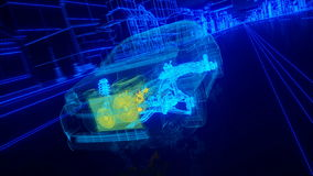 Inside the car - wire overview transmission, engine, suspension, wheels vector illustration