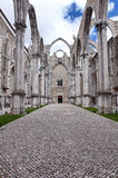 Inside the Carmo Church. Famous Carmo Church ruins after the earthquake in 1755 in Lisbon Royalty Free Stock Photo